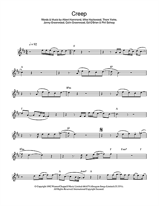 Creep sheet music by Radiohead (Alto Saxophone u2013 44853)
