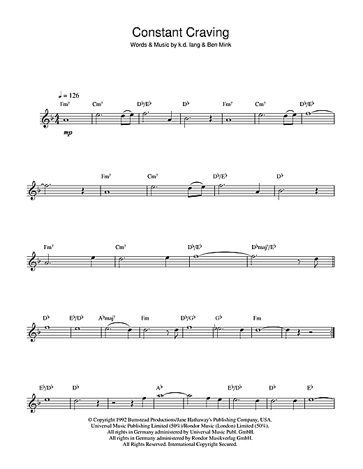 Constant Craving Sheet Music