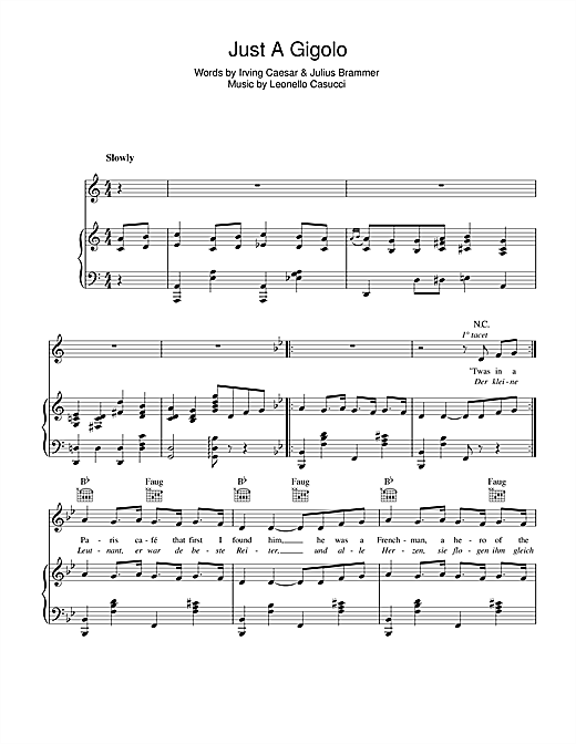 Just A Gigolo Sheet Music