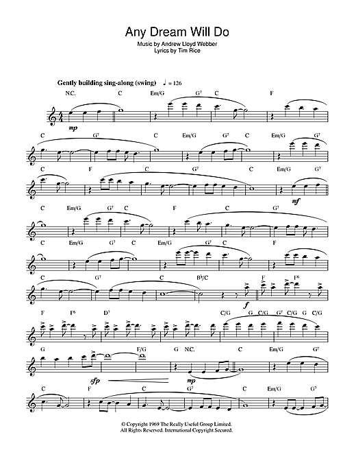 Any Dream Will Do (from Joseph And The Amazing Technicolor Dreamcoat) Sheet Music