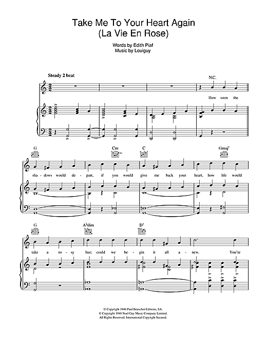 La Vie En Rose Take Me To Your Heart Again Sheet Music By Edith