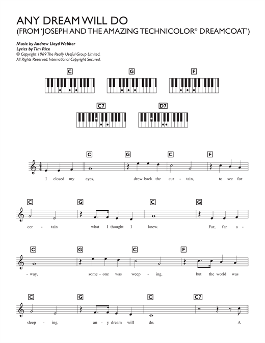 Partition piano Any Dream Will Do (from Joseph And The Amazing Technicolor Dreamcoat) de Andrew Lloyd Webber - Synthétiseur