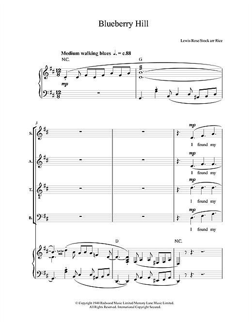 Partition chorale Blueberry Hill de Fats Domino - SATB