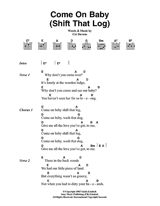 Come On Baby (Shift That Log) Sheet Music