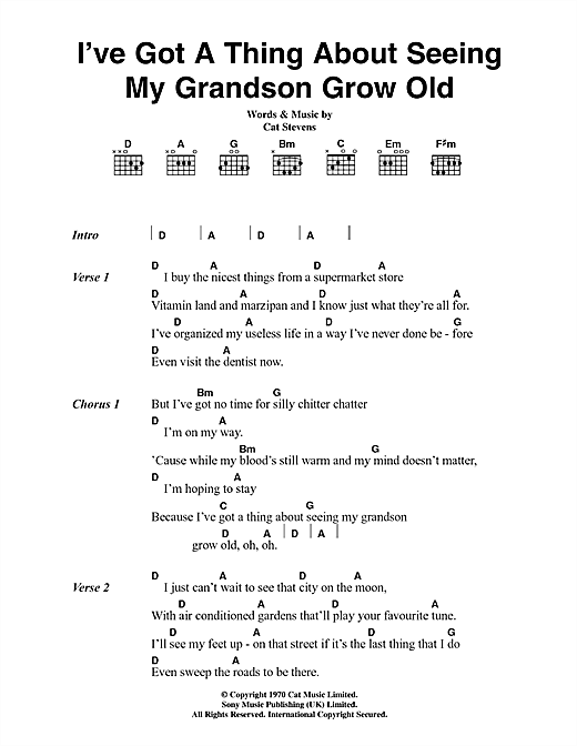 I've Got A Thing About Seeing My Grandson Grow Old Sheet Music