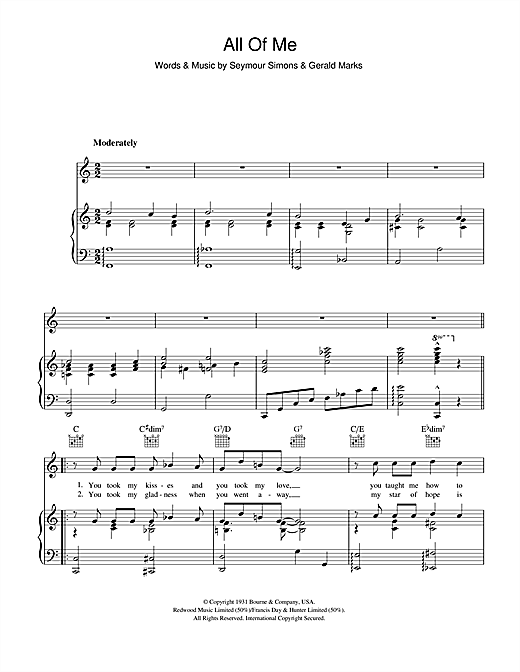 All Of Me sheet music by Frank Sinatra (Piano, Vocal & Guitar ...