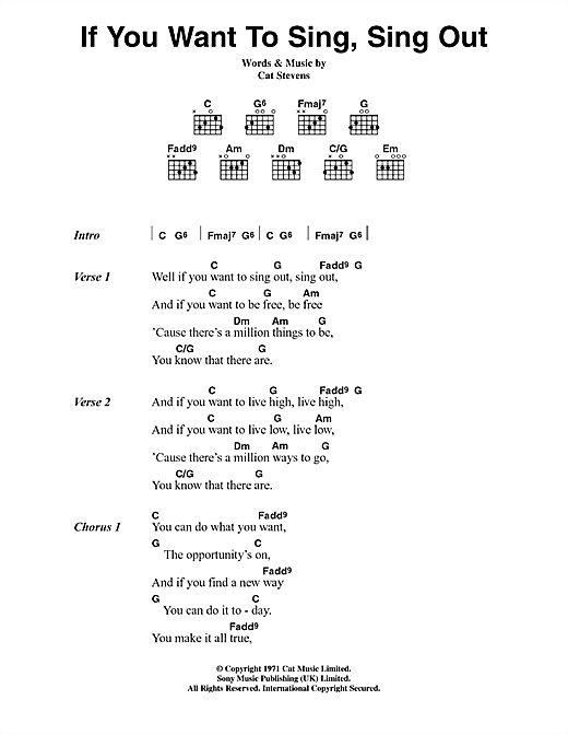 Cat Stevens If You Want To Sing Out Lyrics Chords