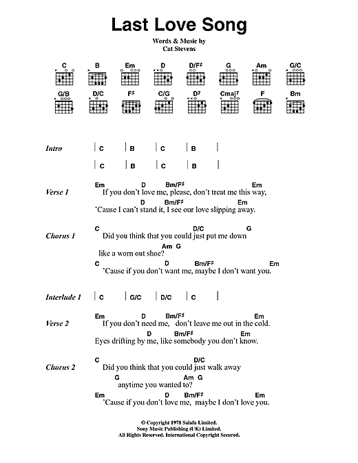 Last Love Song Sheet Music By Cat Stevens Lyrics Chords 45056