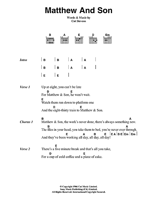 Matthew And Son sheet music by Cat Stevens (Lyrics & Chords – 45060)