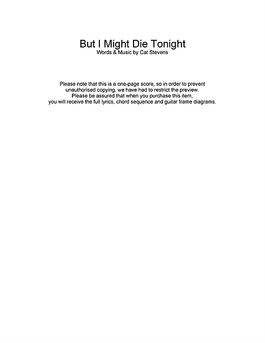 But I Might Die Tonight Sheet Music
