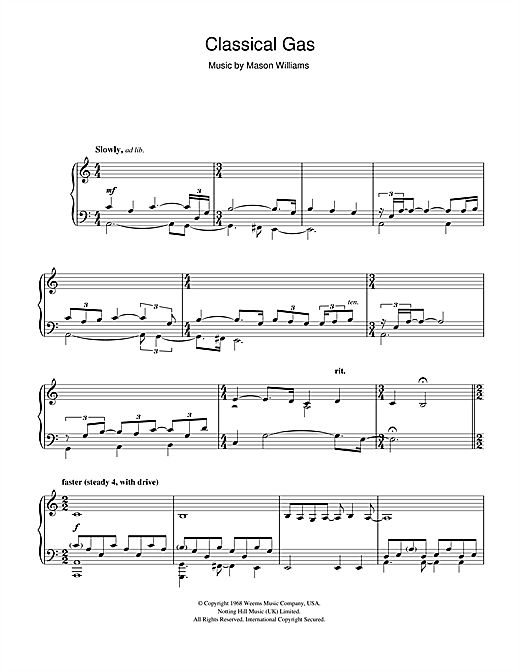 Partition piano Classical Gas de Mason Williams - Piano Solo