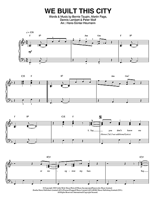 We Built This City Sheet Music
