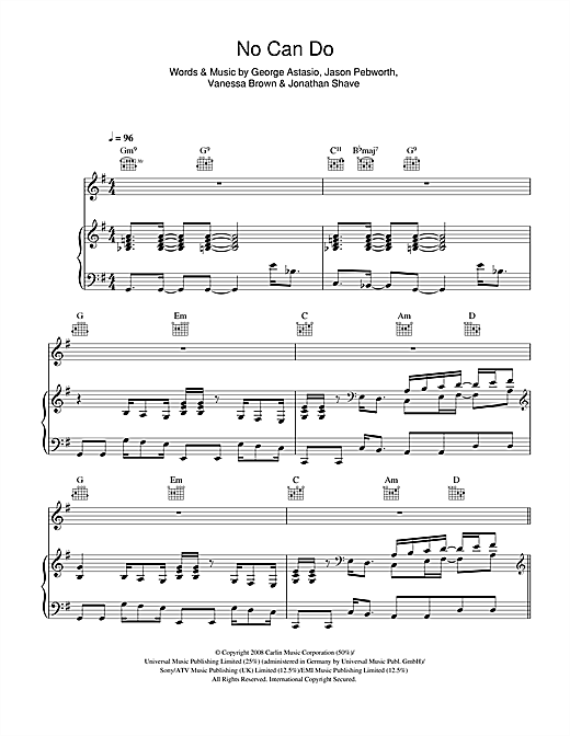 No Can Do Sheet Music