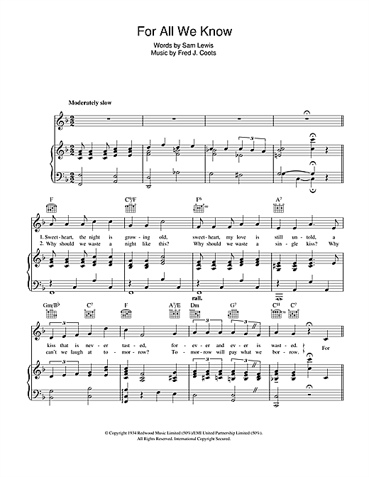For All We Know (Piano, Vocal & Guitar (Right-Hand Melody))