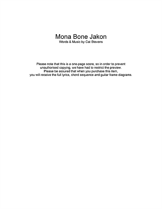 Mona Bone Jakon Sheet Music