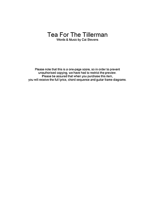 Tea For The Tillerman (closing theme from Extras) Sheet Music