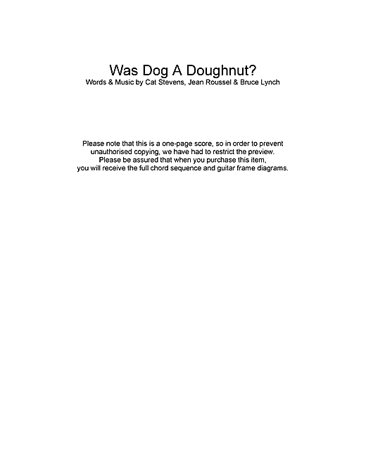 Was Dog A Doughnut? Sheet Music