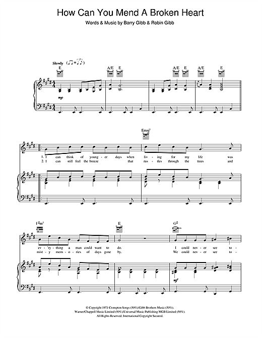 Partition piano How Can You Mend A Broken Heart de Michael Buble - Piano Voix Guitare