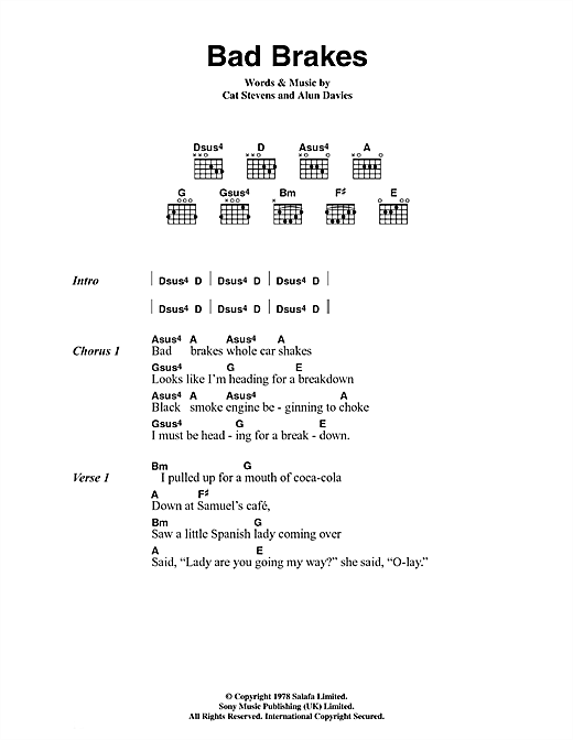 Bad Brakes Sheet Music