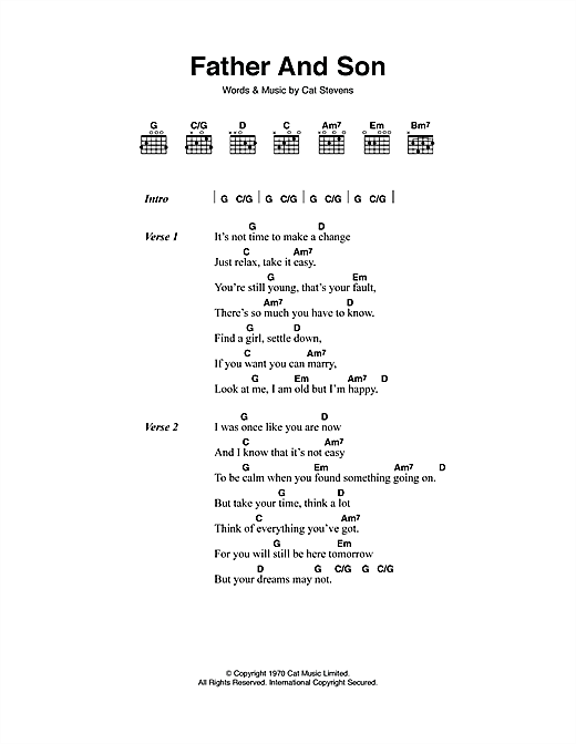 Father And Son sheet music by Cat Stevens (Lyrics & Chords – 45199)