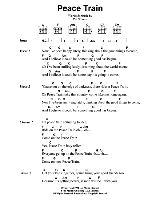 Peace Train (Guitar Chords/Lyrics)