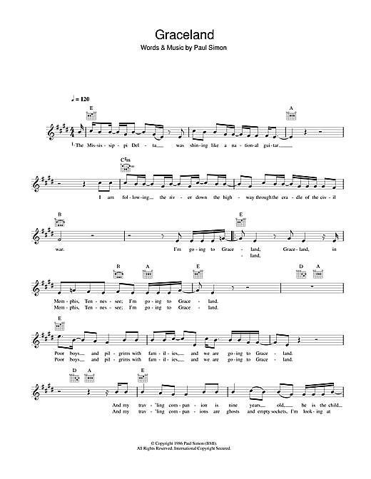 Graceland Sheet Music