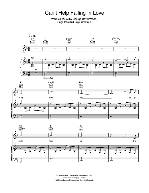 Cant Help Falling In Love Sheet Music By Michael Buble Piano