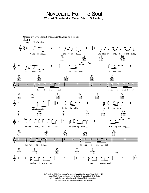 Novocaine For The Soul Sheet Music