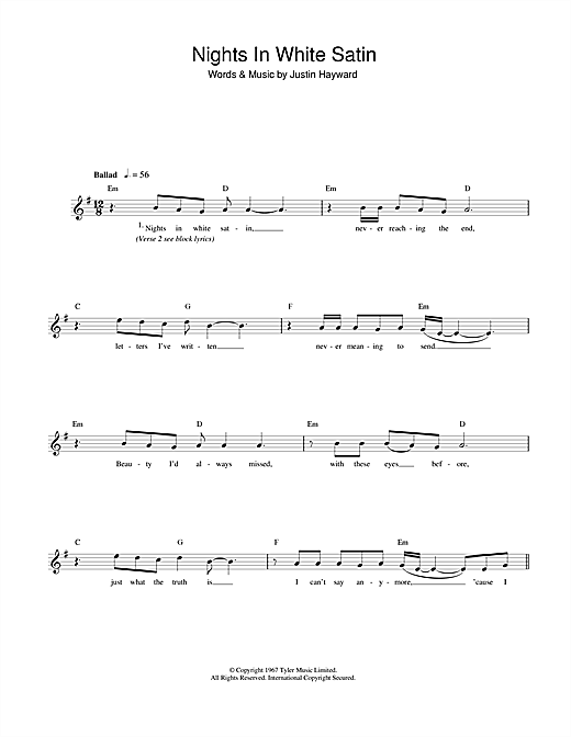 Nights In White Satin chords by The Moody Blues (Melody Line, Lyrics ...