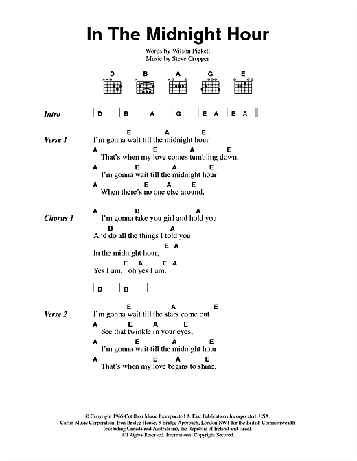 In The Midnight Hour (Guitar Chords/Lyrics)