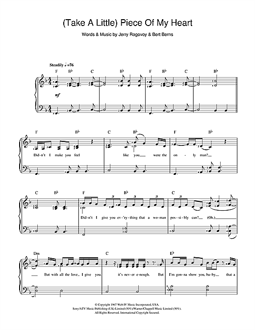 (Take A Little) Piece Of My Heart Sheet Music