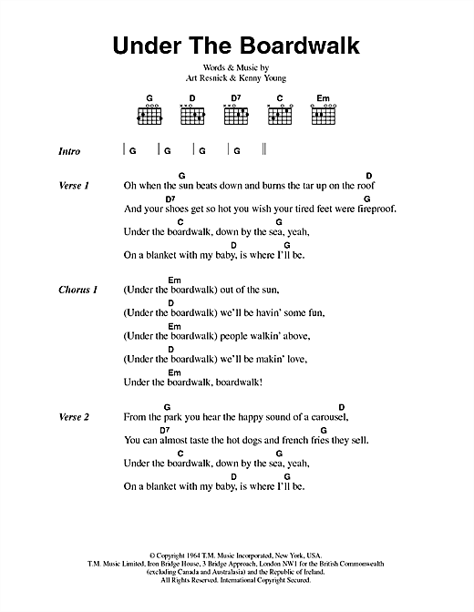 Under The Boardwalk sheet music by The Drifters (Lyrics & Chords ...