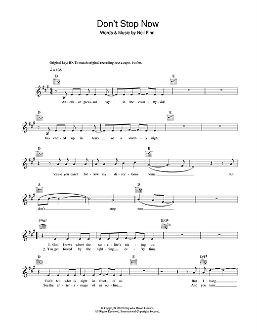 Don't Stop Now Sheet Music