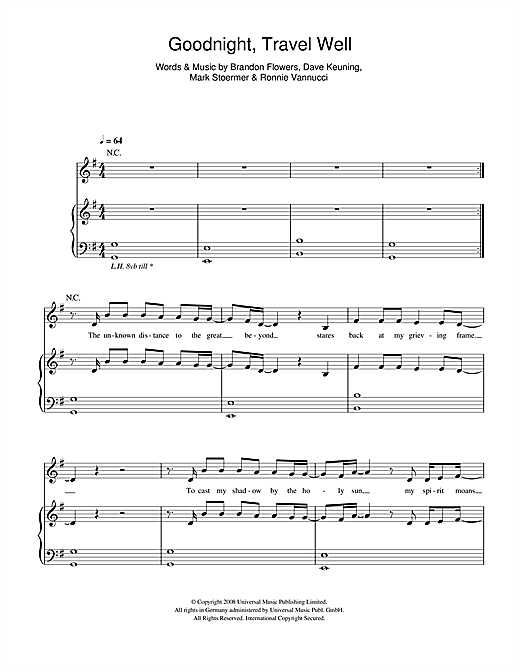 Goodnight Travel Well Sheet Music