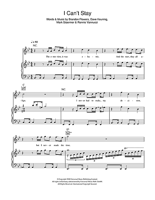 I Can't Stay Sheet Music
