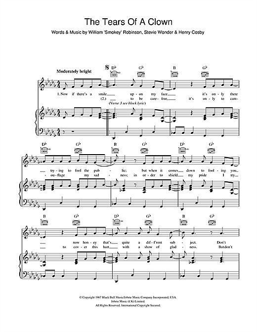 The Tears Of A Clown Sheet Music