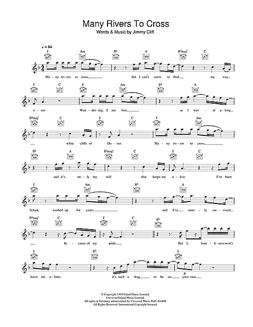 Many Rivers To Cross Sheet Music