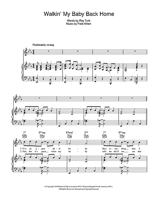 Walkin' My Baby Back Home Sheet Music