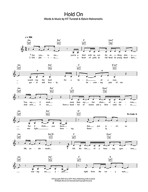 Hold On (Lead Sheet / Fake Book)