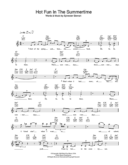 Hot Fun In The Summertime Sheet Music