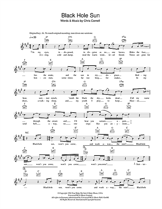 Black Hole Sun chords by Soundgarden (Melody Line, Lyrics ...