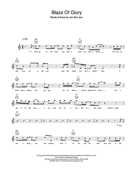 Blaze of glory guitar chords