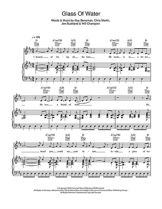 Glass Of Water Sheet Music
