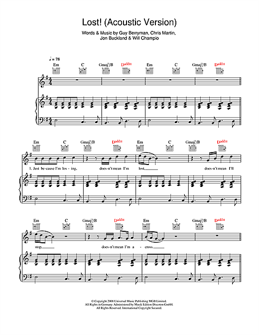Lost! (acoustic version) Sheet Music