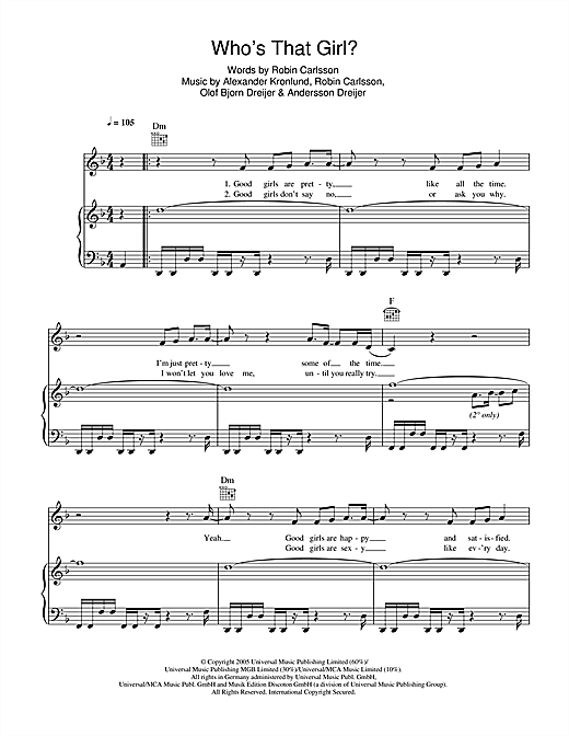Who's That Girl Sheet Music