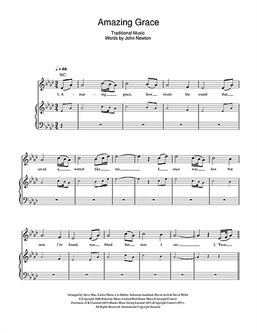 Amazing grace sheet music by il divo piano vocal - Il divo free music ...