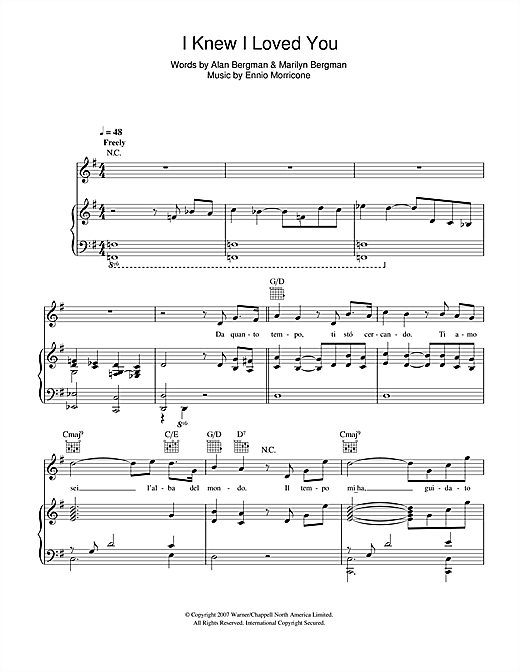 I Knew I Loved You (L'Alba Del Mondo) Sheet Music