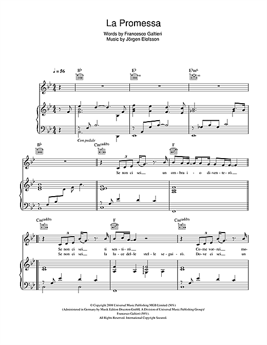 La promessa sheet music by il divo piano vocal guitar - Il divo free music ...
