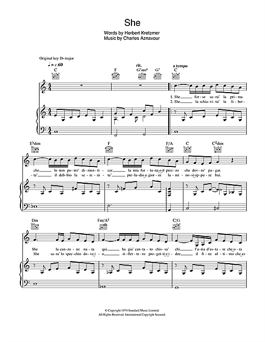 She sheet music by il divo piano vocal guitar 45465 - Il divo free music ...