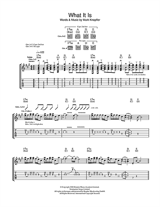 Tablature guitare What It Is de Mark Knopfler - Tablature Guitare